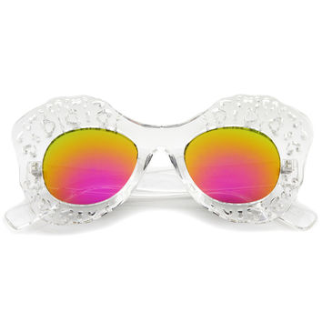 Oversize Transparent Mirror Lens Butterfly Sunglasses A503