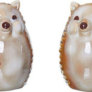 Harvest Hedgehog 3 x 2 inch Ceramic Salt and Pepper Shaker Set