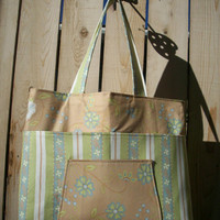 Soft and Flowery Green and Tan Organizer Tote