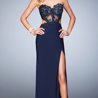 Dresses, Formal, Prom Dresses, Evening Wear: Long La Femme Navy Mock Two Piece Prom Dress