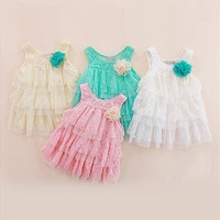 Girls Kids Dresses One Piece Big Flower Lace Layers Toddlers Babys Strap Dresses = 1958207236