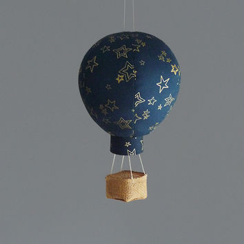 Single Hot Air Balloon Decoration - Nursery, Wedding and Baby Shower Decor - Travel and Explore Themed - Gold Stars