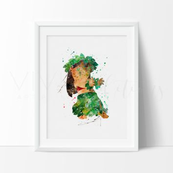 Lilo, Lilo & Stitch Watercolor Art Print