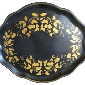Black & Gold Tole Tray