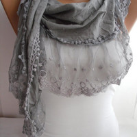 Gray Shawl Scarf Cotton Shawl Scarf  Cowl headband with by DIDUCI