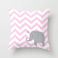 Pink Chevron Elephant Throw Pillow by Janelle Krupa