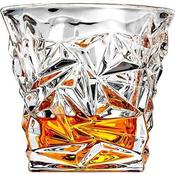 Luxury Whiskey Glass  set of 2  Old Fashioned Vintage Rocks for Bourbon Scotch Cocktail Drinks Tumbler Glassware Gifts for Men Dad and Husband Snifter