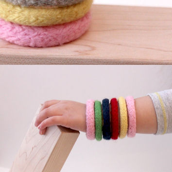 3 Kid's Bracelets / Natural Knit Toy / Waldorf Preschool / Easter Basket Gift / Easter Colors / Spring Child Toy / Wool Bangles
