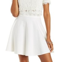 Ivory Ponte Knit Skater Skirt by Charlotte Russe