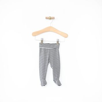 Footie Leggings in Charcoal Stripes