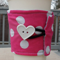 Pink and White Polka Dot Coffee Coozie