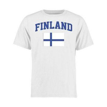 Licensed Sports Finland Youth Flag T-Shirt - White KO_20_2