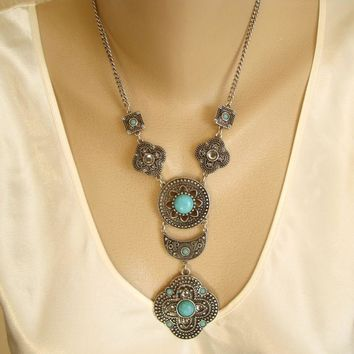 Egyptian Style Drop Necklace Niello Faux Turquoise Vintage Jewelry