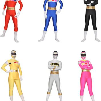 Power Rangers Suit Halloween Costume.  Red/Black/Blue/Pink/Yellow/Silver