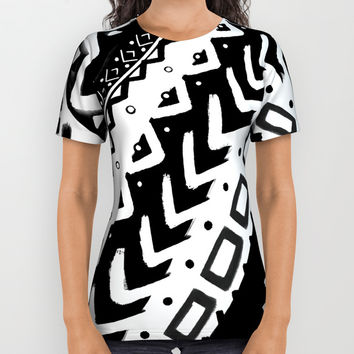 TRIBAL DIAGONAL BLACK AND WHITE PATTERN PAINTED MULTI MEDIA All Over Print Shirt by AEJ Design