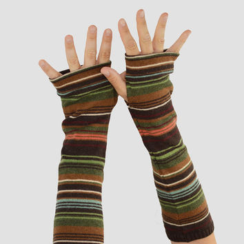 Arm Warmers in Earth Stripes - Brown Green Blue - Recycled Sweaters