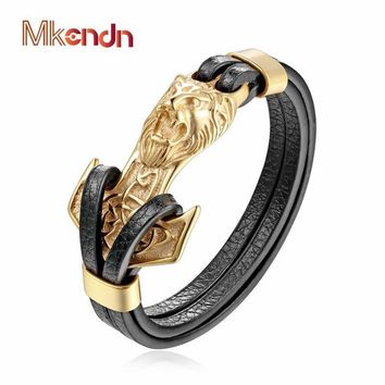 MKENDN New Mens Bracelets Gold Leo Lion Stainless Steel Anchor Shackles Black Leather Bracelet