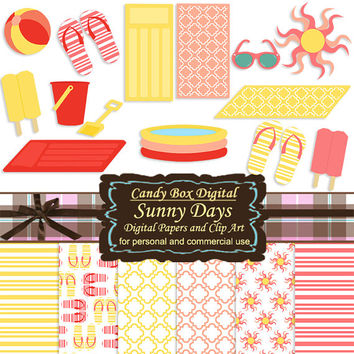 Beach Clipart, Summer Clipart, Beach Clip Art, Summer Clip Art, Beach Scrapbook, Summer Scrapbook, Summer Digital- Commercial OK