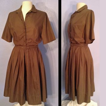 1950's Brown Shirtwaist Day Dress, Town-n-Country by Lois Young Dallas