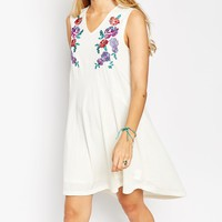 ASOS TALL Swing Dress in Neppi and Coloured Embroidery