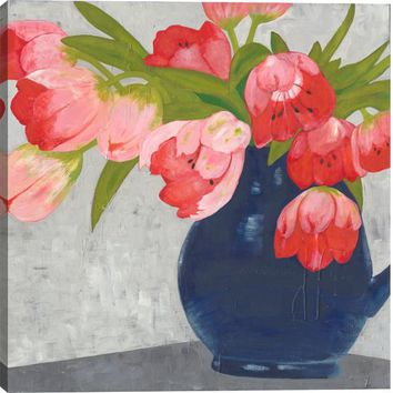 Tulips in Coral Floral Canvas Wall Art Print
