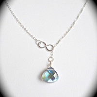 Blue Lariat Necklace Silver Infinity Necklace Infinity Lariat Blue Necklace Blue Drop Necklace Sapphire Glass Necklace Infinity Jewelry