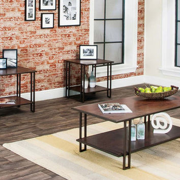 Oak and Bronze Side and Coffee Tables   Roma 3 Piece Table Set   American Freight