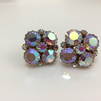 Aurora Borealis  Rhinestones Earrings, Square, Bold Statement, Vintage Wedding Jewelry