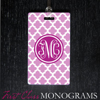Lavender & Pink Moroccan Tile Monogram Luggage Tag, diaper bag tag, golf bag tag,backpack tag custom personalized cute luggage tags LTM-103