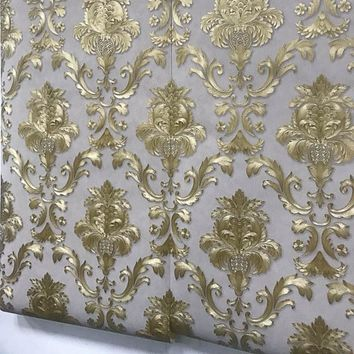 Brown Gold Yellow Textured Luxury Damask Wallpaper Damask Striped Embossed Vinyl  Wall Paper Home Decor