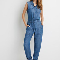 Button-Down Denim Jumpsuit