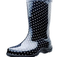 "Sloggers Woman's Rain and Garden Boots with ""All-Day-Comfort"" Insoles, Black/White Polka Dot"