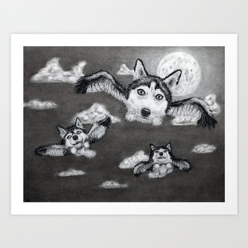 Flight of the Huskies Art Print by Paul Draws