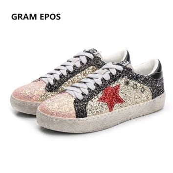 GRAM EPOS 2018 Women Spring Summer Trainers All Glitter Leather Do Old Dirty Shoes Mixed Color Women Sequins Star Fleeces Shoes