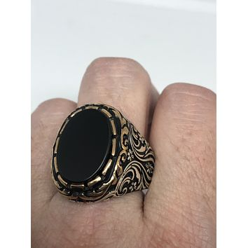 Vintage 1970 Gothic Sterling silver Genuine Black Onyx Rose Gold Mens Ring