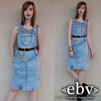Vintage Overalls Dress Vintage 80s Acid Wash Jean Denim Dress S M