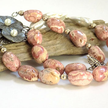 Pink Necklace, Semi Precious Stones, Chunky Statement, Pink Rhodochrosite, Popular Necklace, Artisan Jewelry, Occasion Necklace, Unique