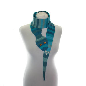 Snake Scarf / Scarf Hand Knit / shades blue  turquoise and gray  / gift under 40 / animal scarf