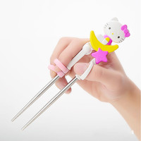Cartoon Hello Kitty Kids Children Learning Training  Chopsticks or Spoon Baby Enlightenment Chopsticks or Spoon Kids Tableware C
