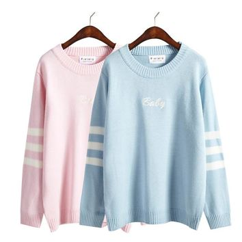 Women'S Kawaii Winter Loose Embroidery Letter Stripe Loose Sweater Female Korean Harajuku Retro Pullover For Women Jumper