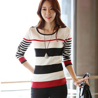 2015 New Autumn Winter Fashion Women Sweater Pullover Plus Size Casual Slim long-sleeved Striped Sweater pull femme = 1945981572
