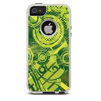 The Grungy Green Messy Pattern V2 Skin For The iPhone 5-5s Otterbox Commuter Case