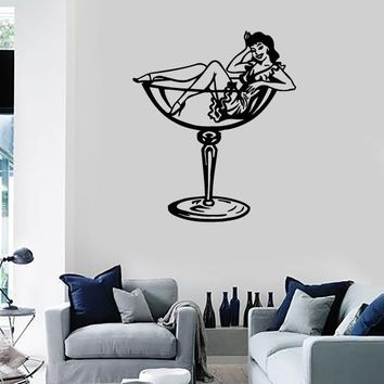 Wall Stickers Vinyl Decal Sexy Pin Up Girl Glass Cocktail Party Unique Gift (ig723)