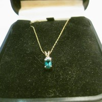"Vintage 10kt Emerald Diamond Necklace, 18"", .50 ctw, 1.27 gr., 1980's"