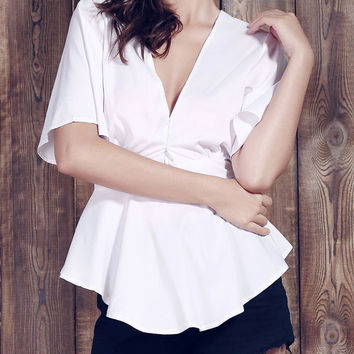White Plunging Cut-Out Bow-Tie Back Blouse