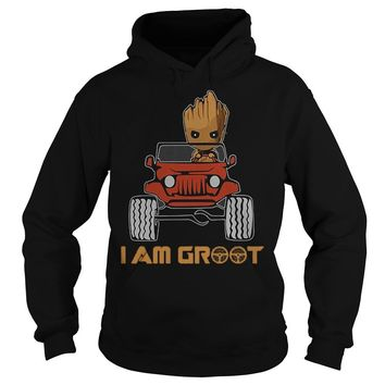 Premium Jeep And Groot I Am Groot T-Shirt Hoodie
