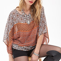 LOVE 21 Mosaic Print Poncho Top Ivory/Rust