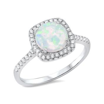 Sterling Silver Round Created White Opal CZ Square Halo Ring