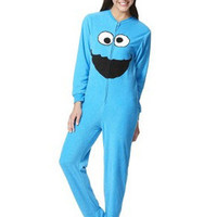 Adult Juniors FOOTED Fleece Pajamas COOKIE MONSTER Sesame Street Footsie Costume