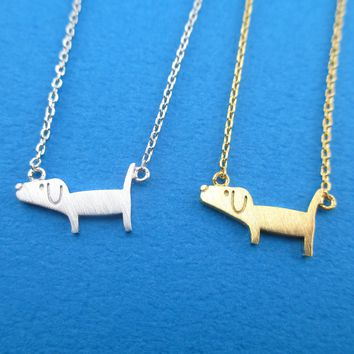 Cute Dachshund Silhouette Shaped Charm Necklace in Silver or Gold
